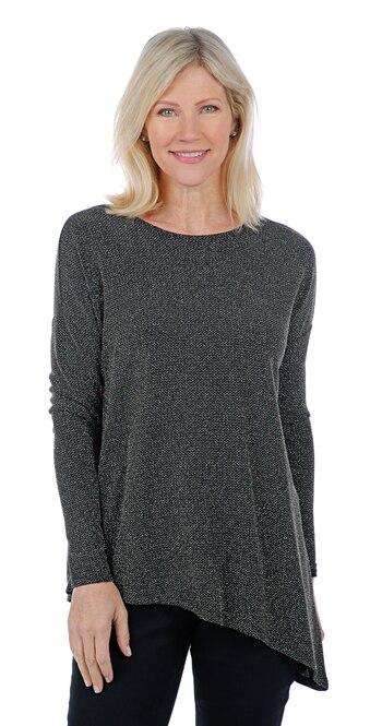 Diane Gilman Women's Angled Hem Bateau Neck Top, Black, Size L, Retail: $27.34