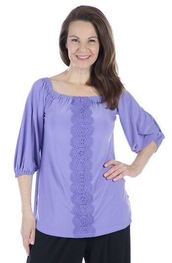 Nina Leonard Women's 3/4 Elastic Hem Sleeve with Trim Down Front Top, Purple, Size L, Retail: $48.52
