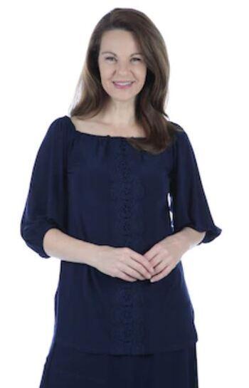 Nina Leonard Women's 3/4 Elastic Hem Sleeve with Trim Down Front Top, Navy, Size S, Retail: $48.52