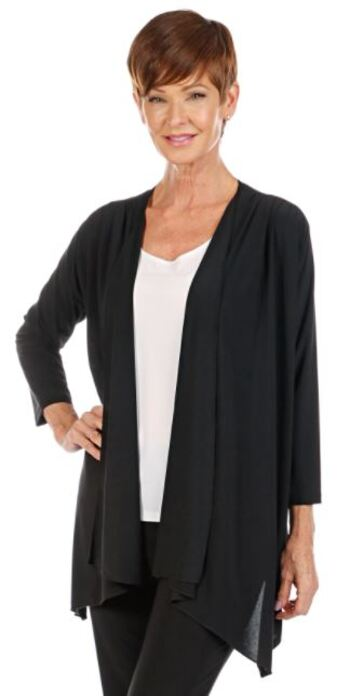 Slinky Brand Women's 3/4 Sleeve Jacket with Ruching At Shoulders, Black, Size L, Retail: $27.72