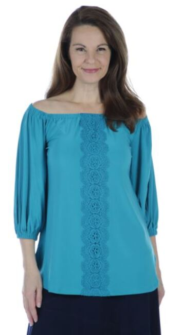 Nina Leonard Women's 3/4 Elastic Hem Sleeve with Trim Down Front Top, Teal, Size S, Retail: $48.52