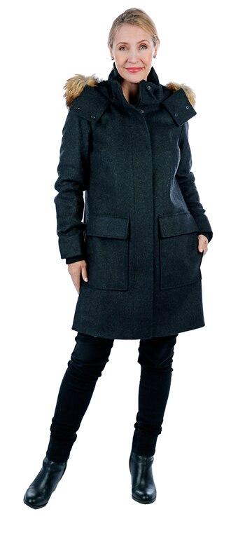 Nuage Italian Wool Cashmere Blend Parka with Faux Fur Trim, Size L, Retail: $125.60