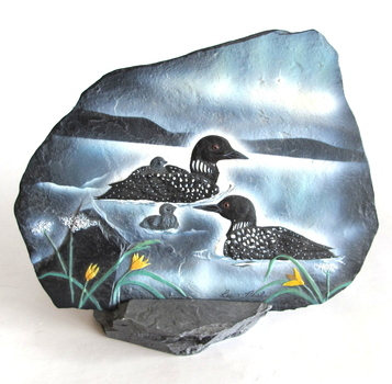 Reflections of Bay Life Art -Hand Painted Reproduction on Slate-Signed