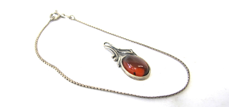 Vintage Sterling Silver Chain Bracelet and Amber Pendant