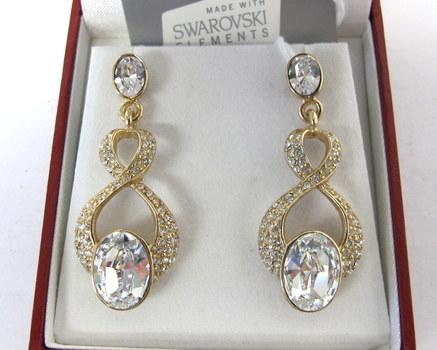 Pair of MM Crystal Drop Earrings with Swarovski Elements