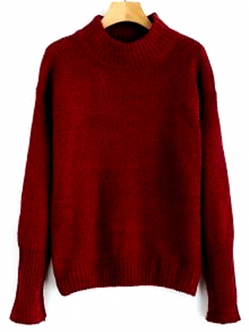Mixed Yarn Sweater - Red Wine - Size 6