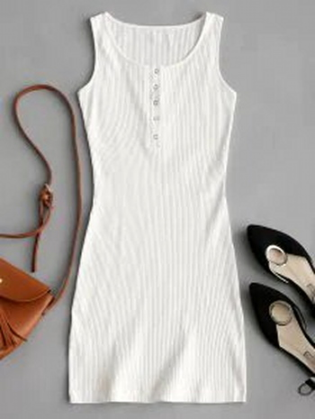 NWT Knitted Snap Button Ribbed Bodycon Dress - White - Size S