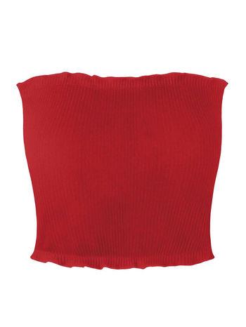 NWT Women Flounced Ribbed Tube Top Tank Ruffle Knit Womens Tops Ladies Plain Basic - Size M