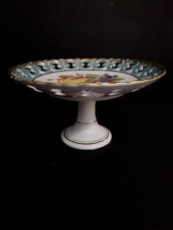 Vintage Hand Painted Porcelain English Cake Pedestal Tray