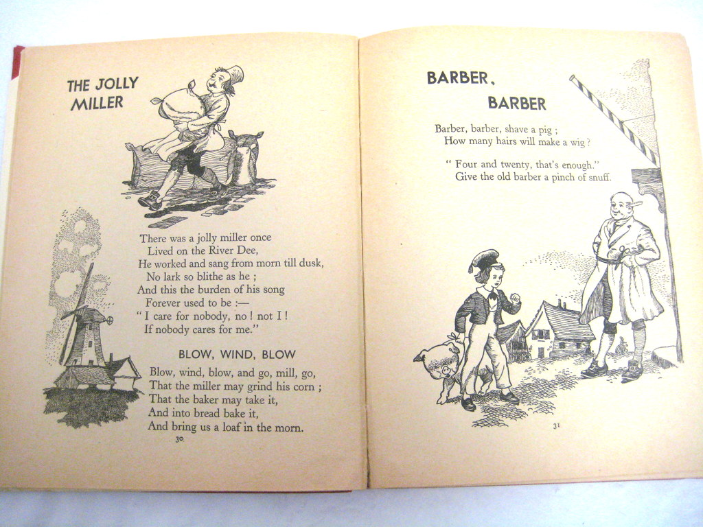 Vintage Book Mother Goose Nursery Rhymes Circa 1950 S