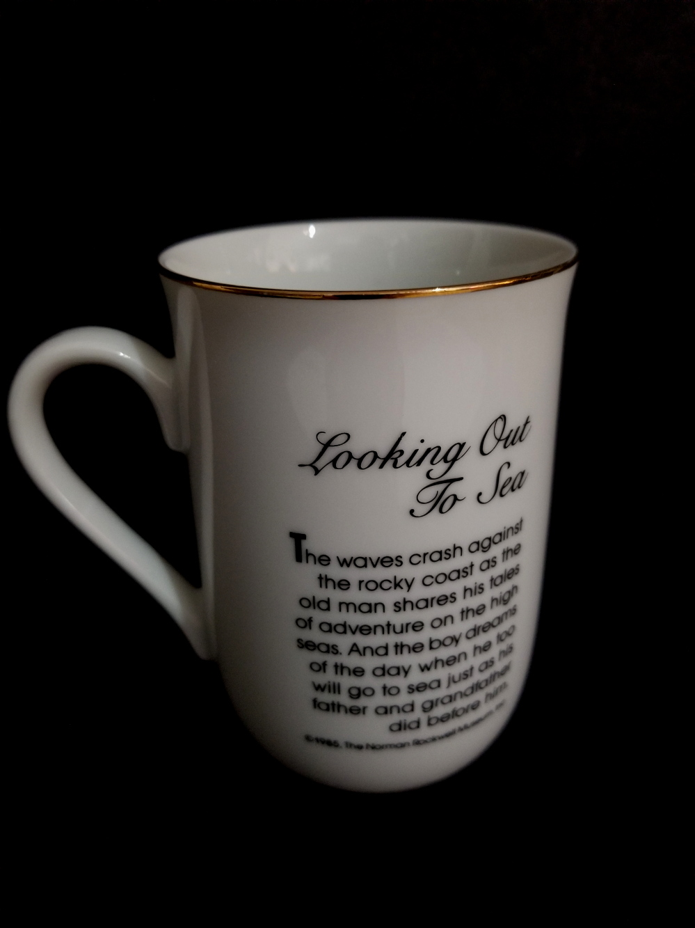 74a499bfd43 Porcelain Norman Rockwell Mug - Looking out to sea | Property Room