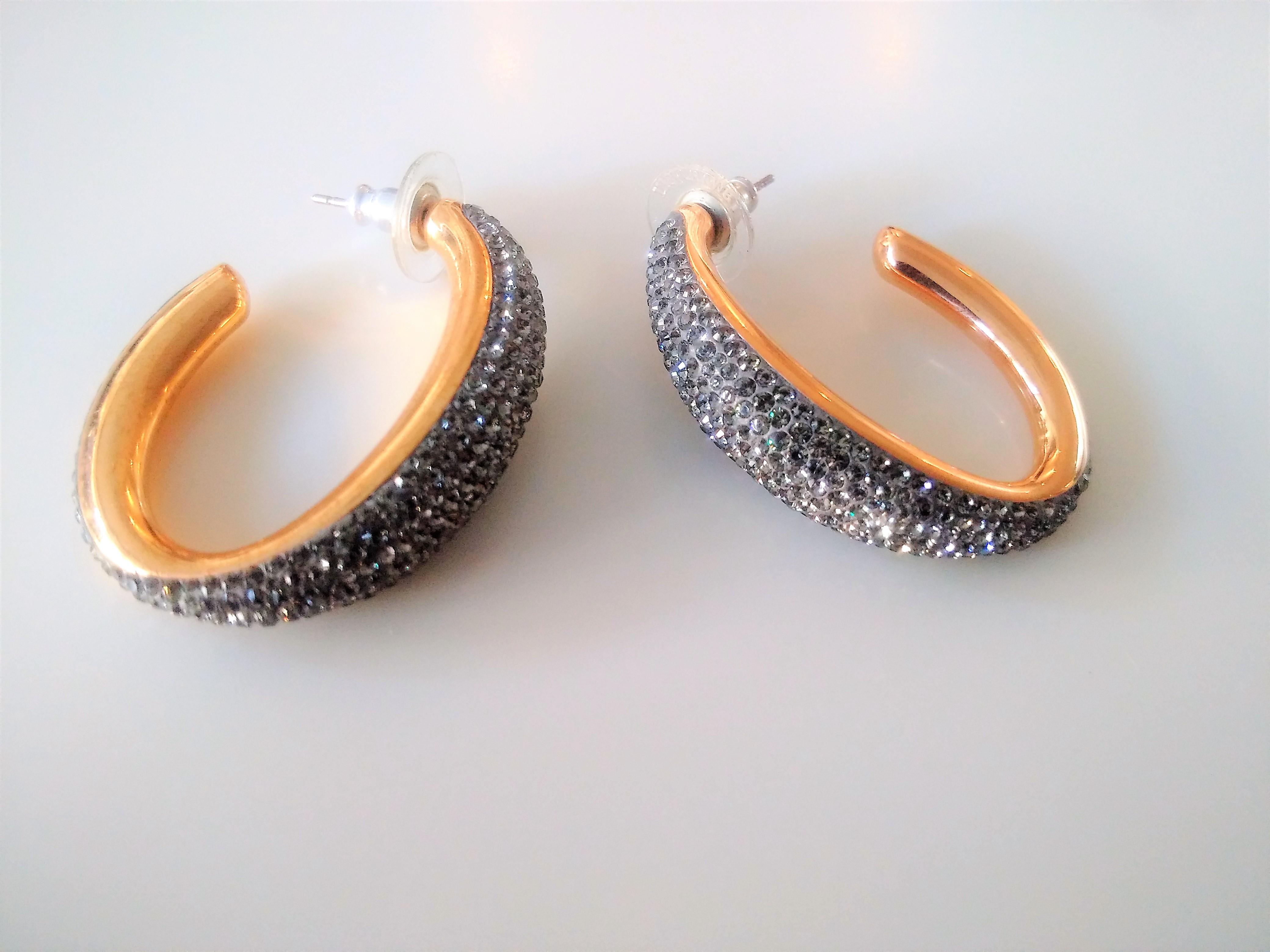 Gorgeous Swarovski Black Crystal Hoop Earrings