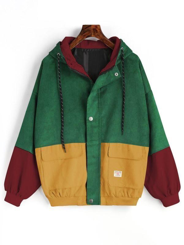 21dcf60bd9deb Image 1 of 3. Hit Color Block Hooded Corduroy Jacket Coat for Ladies Zip Up  Jacket Loose ...