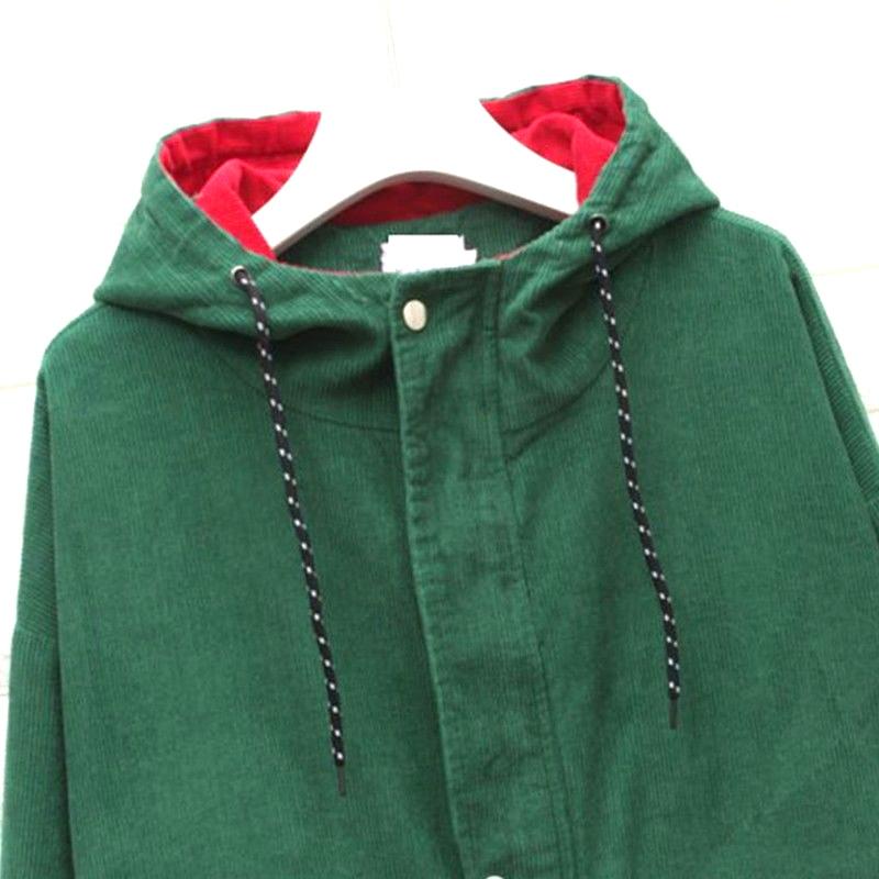 49ffdc24c643d Hit Color Block Hooded Corduroy Jacket Coat for Ladies Zip Up Jacket Loose  Coats XL