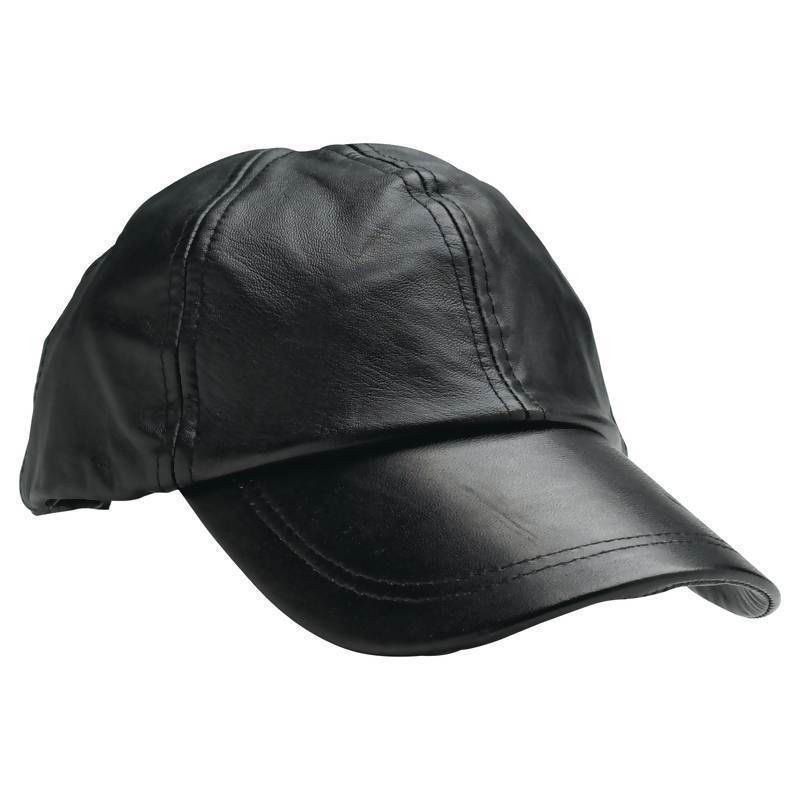 An image relevant to this listing. Solid Genuine Black Leather Adjustable Motorcycle  Biker Baseball Cap Mens Womens 7bdad89ea14