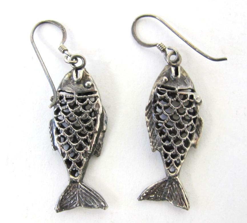 Pair Of Sterling Silver Fish Earrings