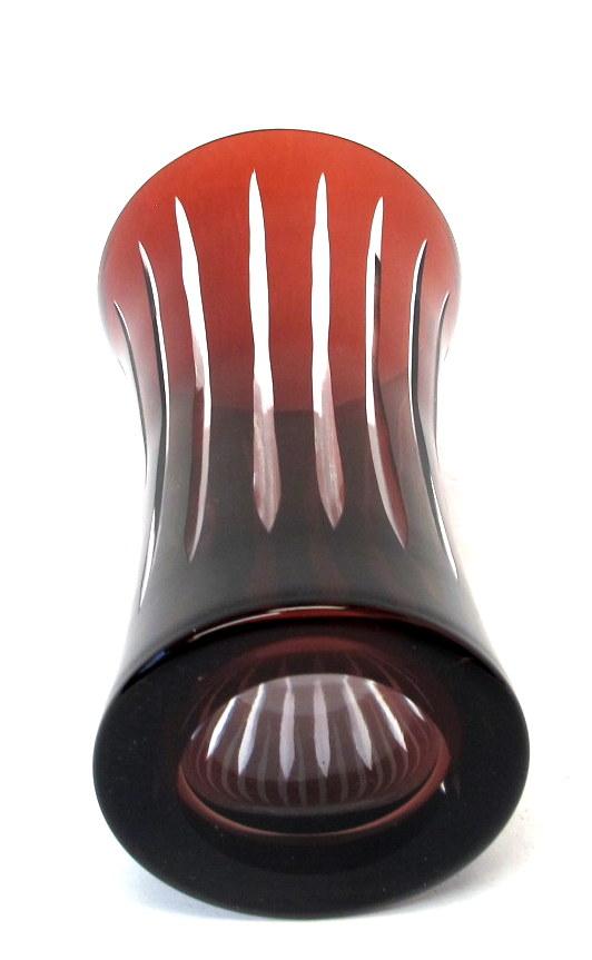Vintage Ruby Red Hand Cut Crystal Vase Property Room