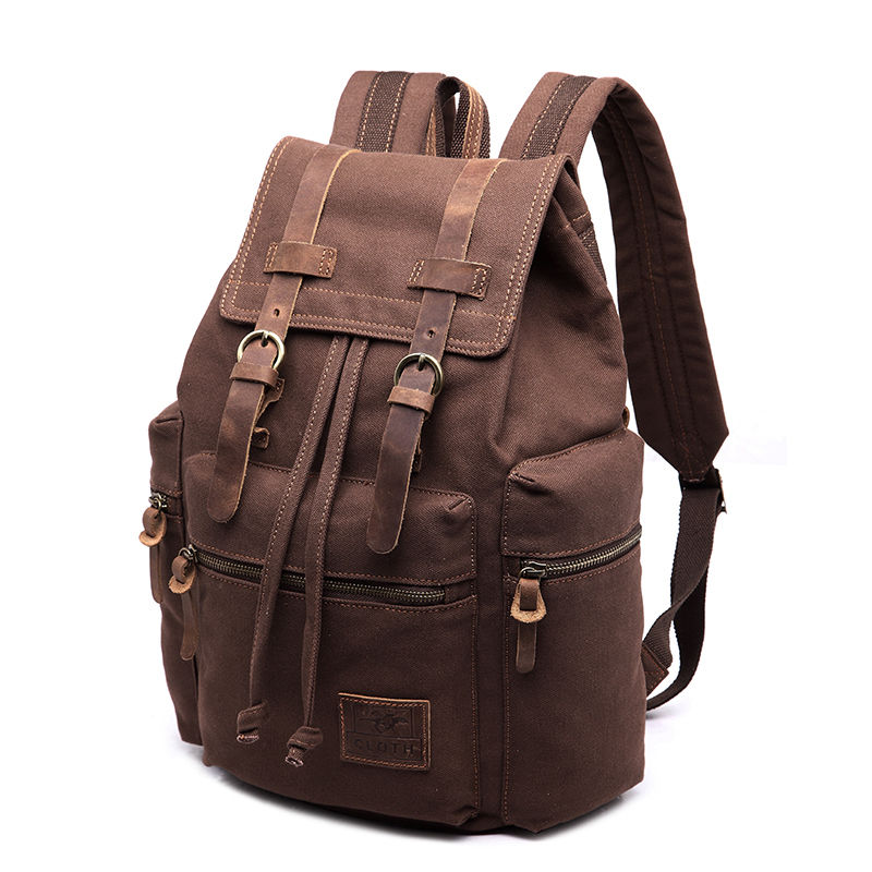 1ba651a5a654 An image relevant to this listing. Vintage Retro Canvas Backpack Travel  Sport Rucksack Satchel Hiking School Bag ...