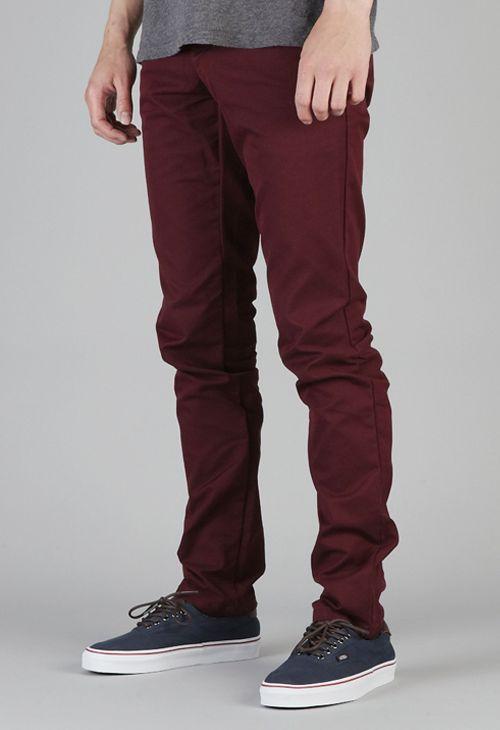 Mens Burgundy Skinny Jeans