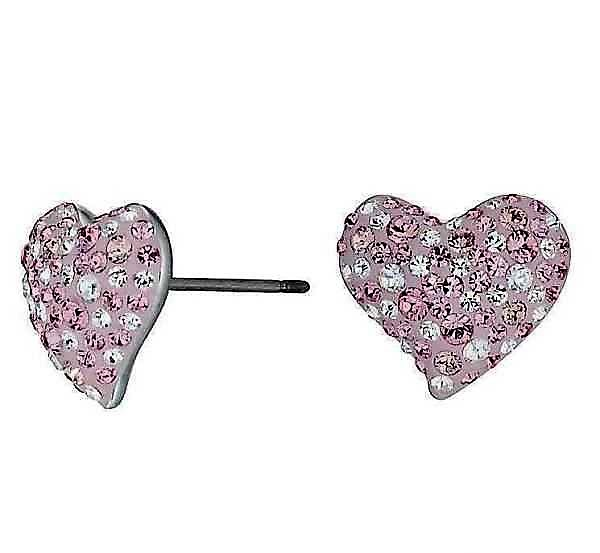 New Swarovski Elana Pink Heart Gold Plated Earrings Made In