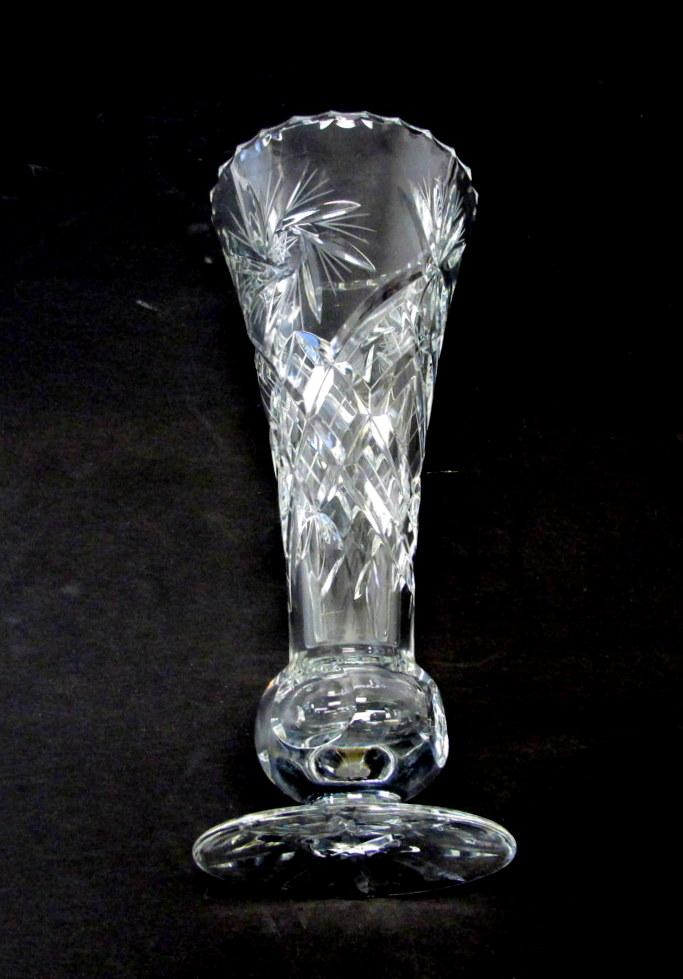 Vintage Hand Cut Pinwheel Crystal Vase Property Room