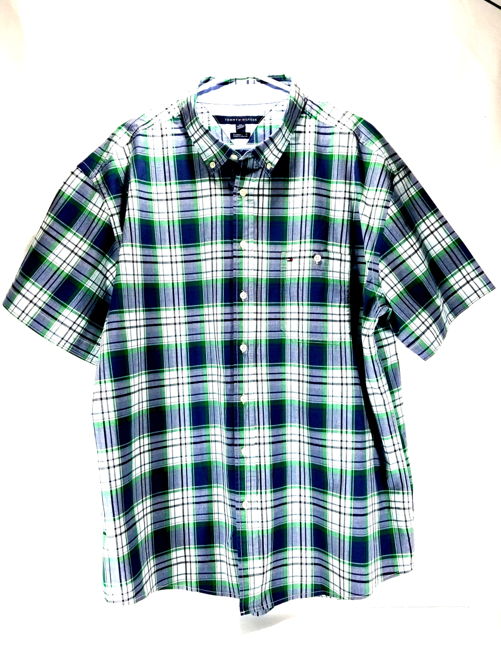 TOMMY HILFIGER 100% COTTON CLASSIC FIT BUTTON FRONT SHORT SLEEVE SHIRT BLUE XXL Clothing, Shoes & Accessories Shirts