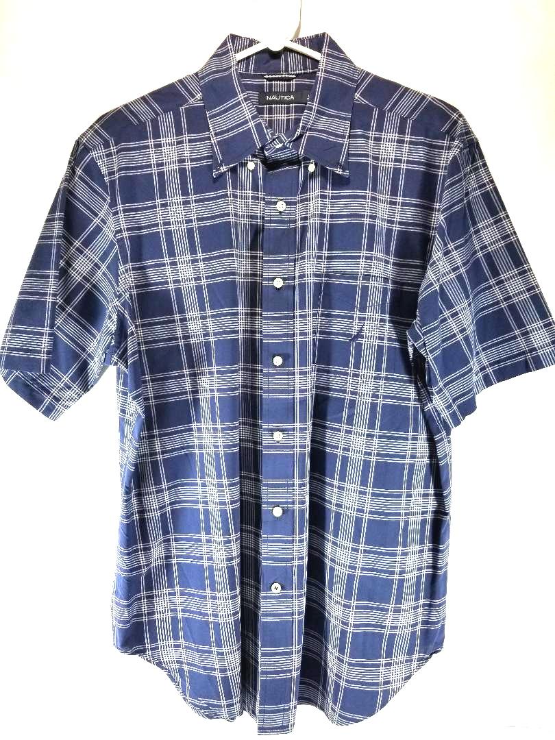 Nautica Mens Sz L Button Up Short Sleeve Shirt Property Room