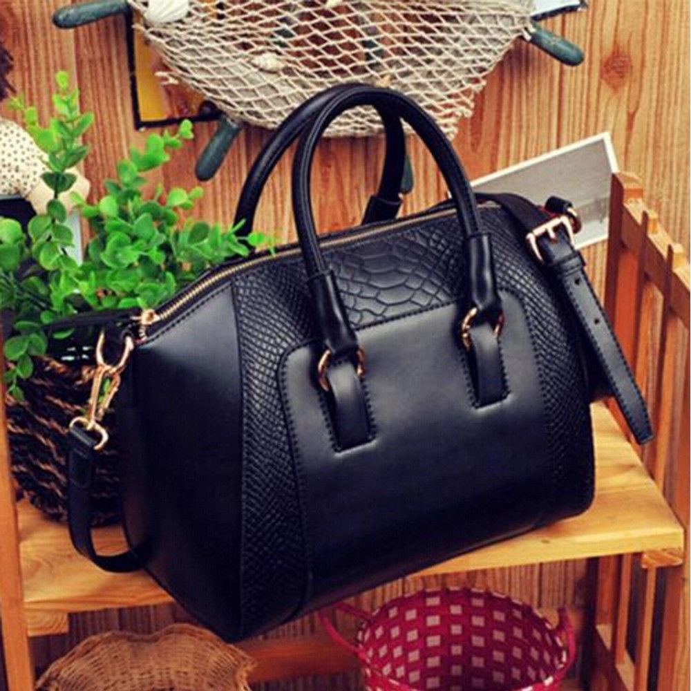 9a922137db25 Fashion Women Satchel Crossbody Shoulder Bag PU Leather Tote Handbag Purse  Black