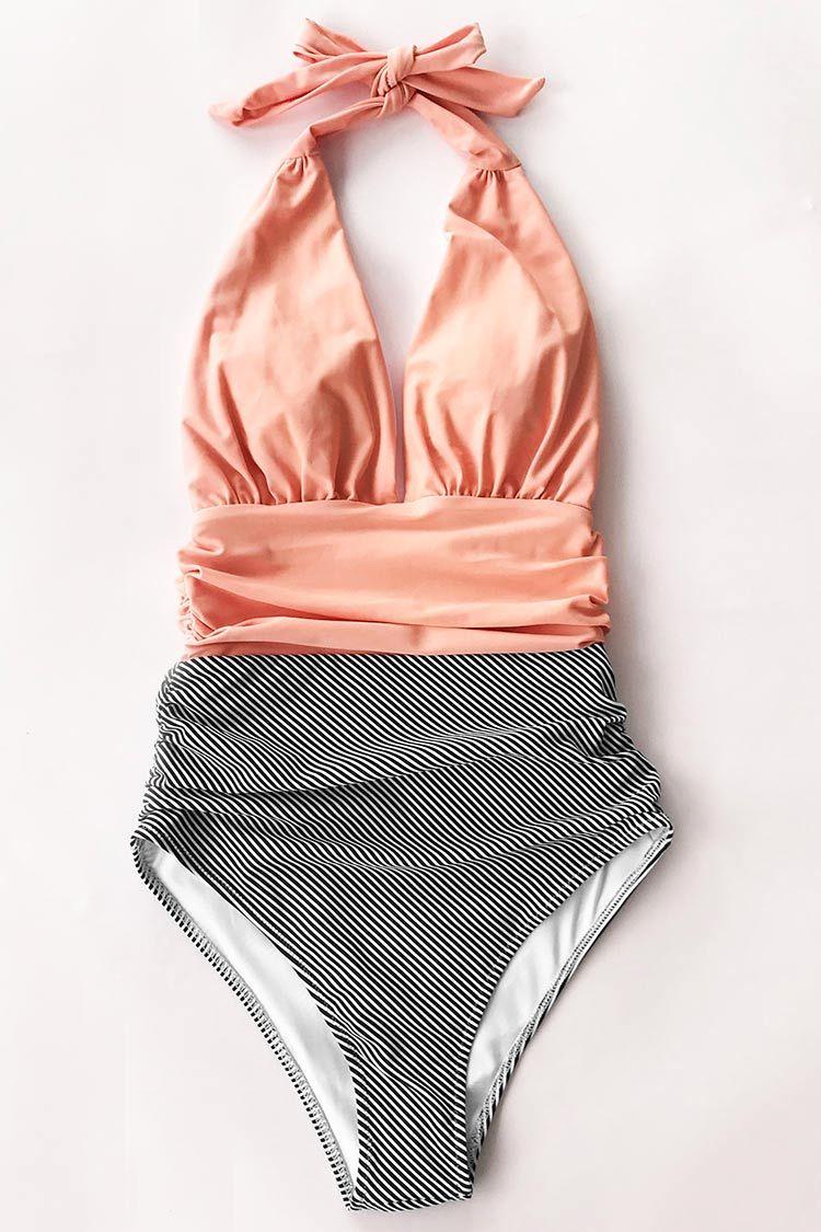 dd78a88e38e52 Cupshe Keeping You Accompanied Stripe One-Piece Swimsuit L ...