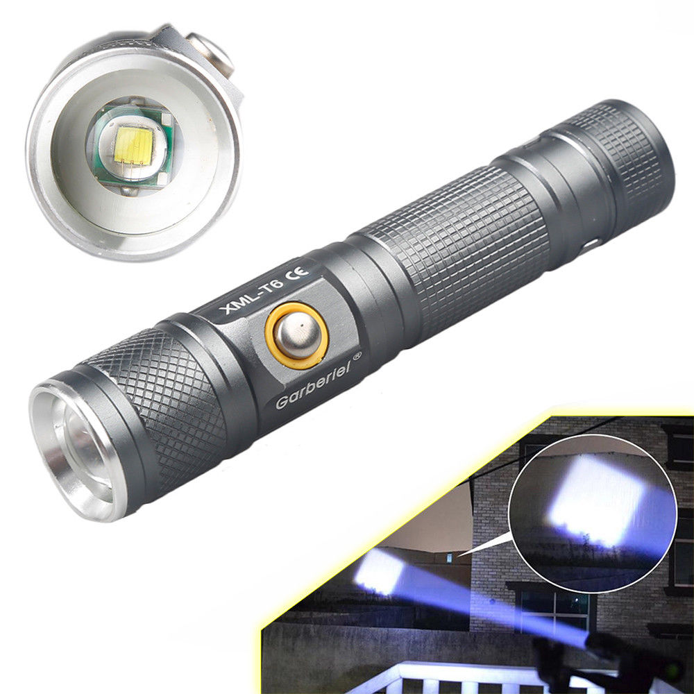 2x 15000 Lumen 3 Modes XML T6 LED Rechargeable 18650 Flashlight Torch Zoom-able