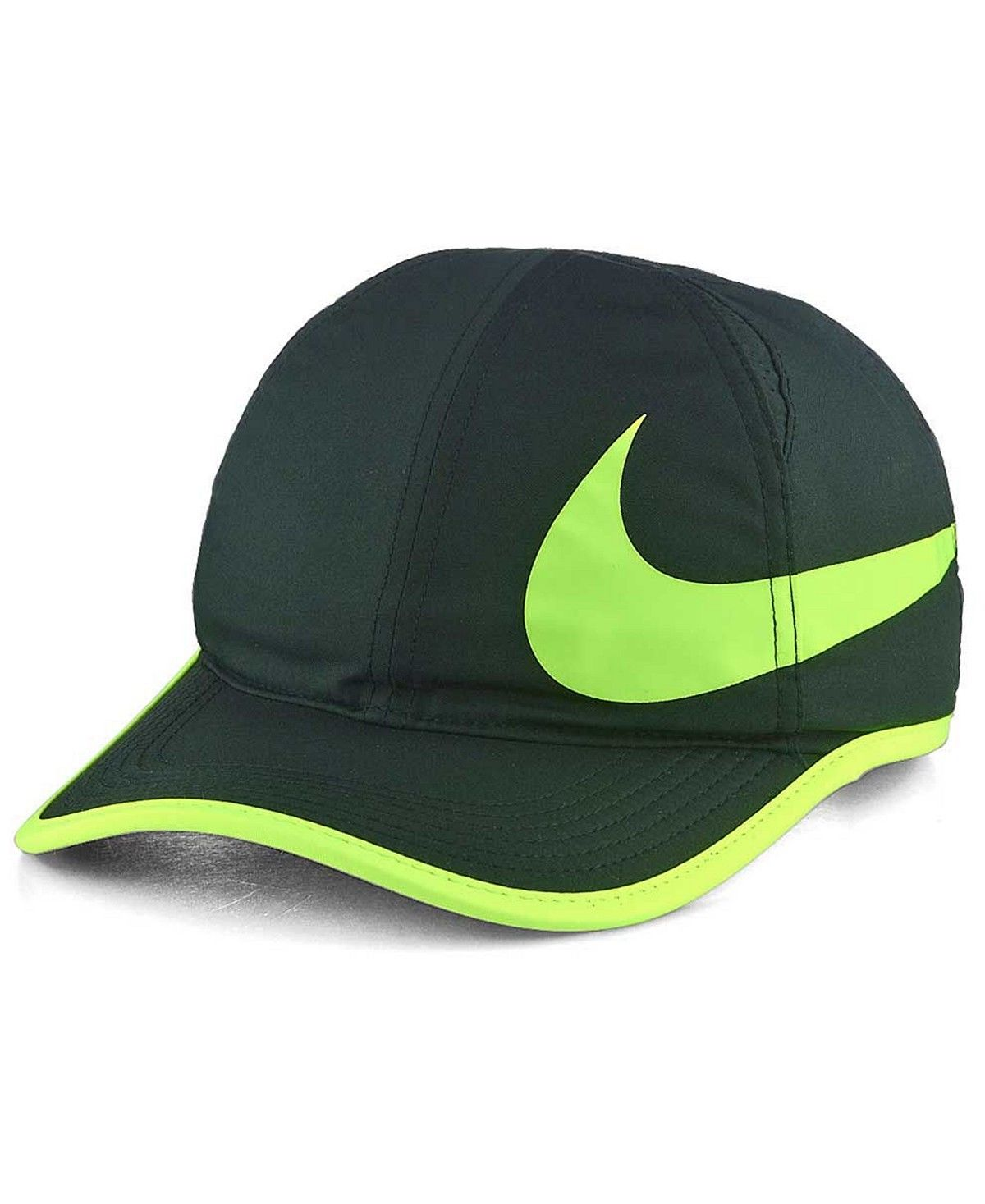 NIKE Featherlight Swoosh Cap Hat Black Green Great Gift NEW NWT ... b00dcb1168f