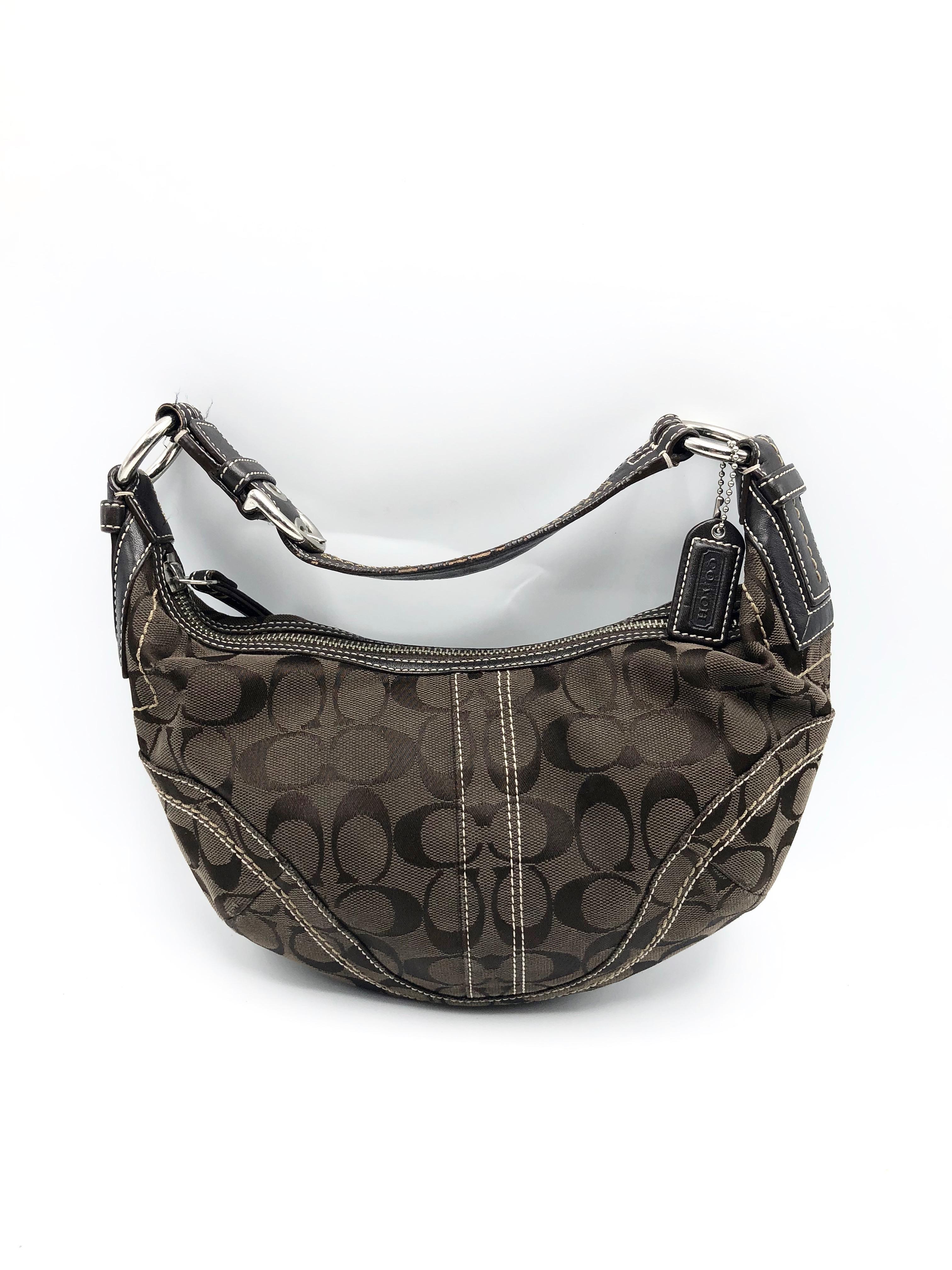 Purse Coach Dark Brown Signature Canvas /& Leather #10073 Small Handbag