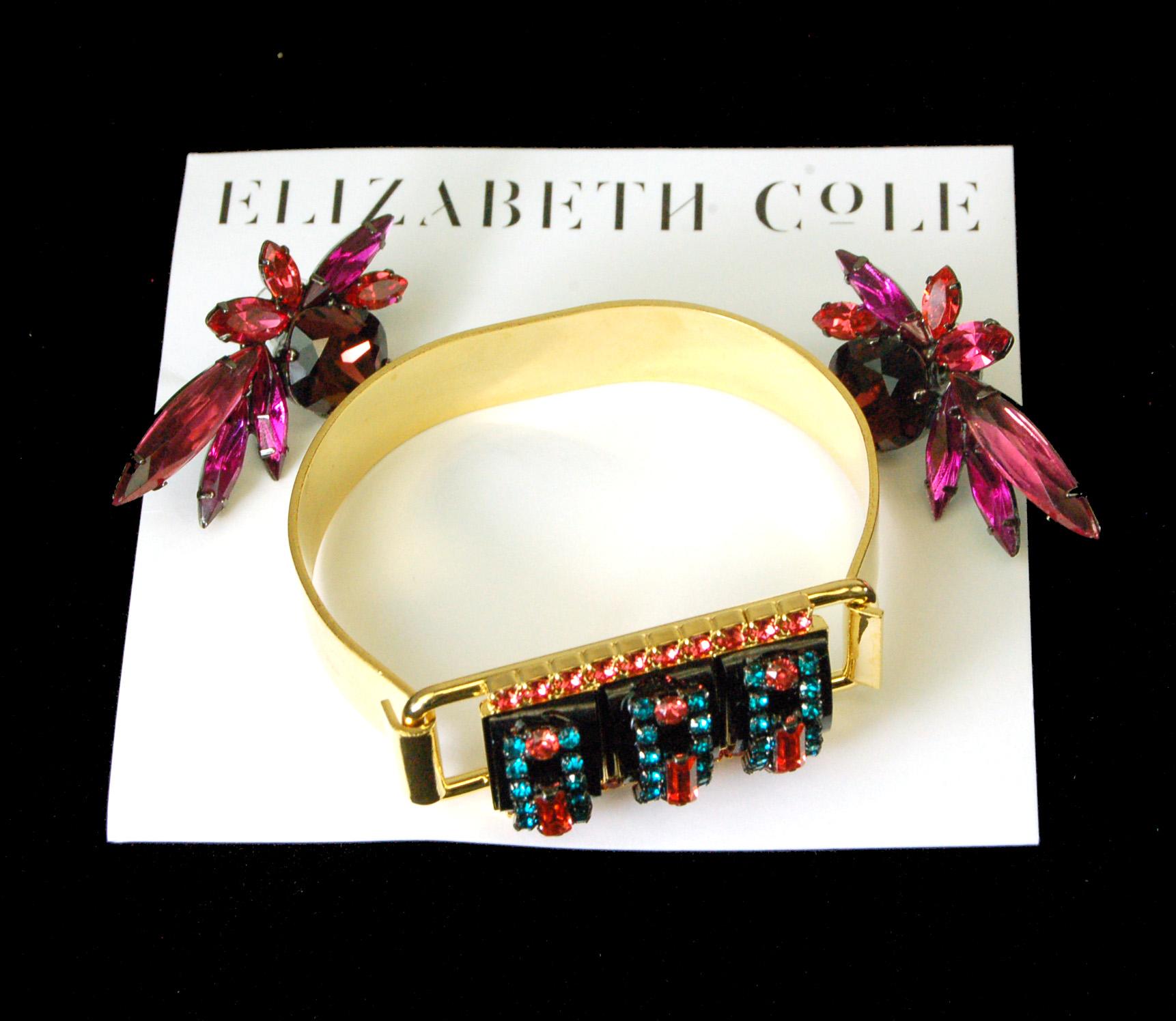 2 New Elizabeth Cole Jet Stone And Swarovski Crystal Gold Platrf Bracelet Earrings 14 Kt Plated 189 00 Retail