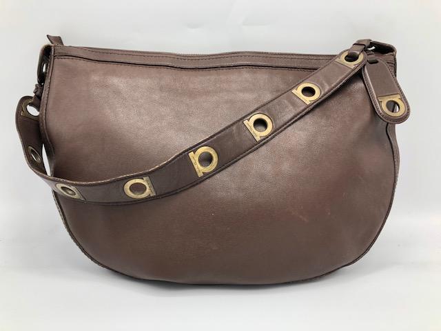 ef9cc61cd71e Salvatore Ferragamo AU-21/3840 Gancio/ Brown leather Satchel Hobo ...