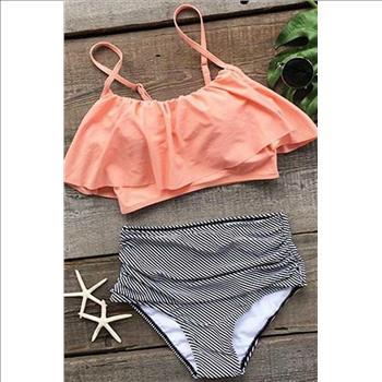 3e6ad49c6e Cupshe Seaside Gale Falbala High-waisted Bikini Set - Size L ...