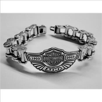 Rare Harley Davidson 925 Sterling Silver 100th Anniversary Chain Bracelet Over 100 Grams