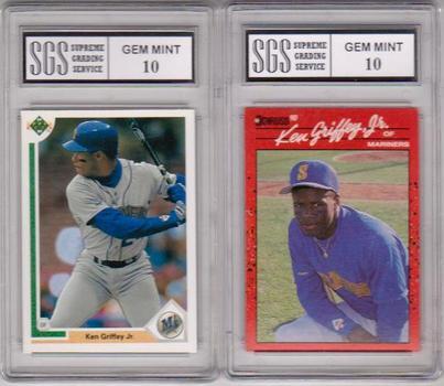 2 Different Graded Gem Mint 10 Ken Griffey, Jr. Cards - 1990 Donruss + 1991 Upper Deck Pair