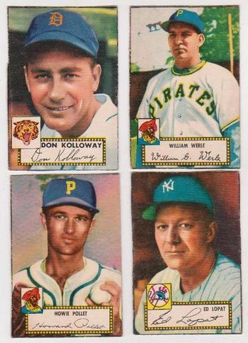 4 Different 1952 Topps Baseball Cards