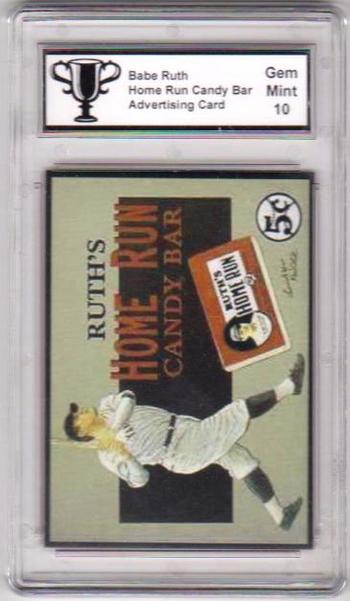 Graded Gem Mint 10 Babe Ruth Home Run Candy Bar Advertising Promo Card