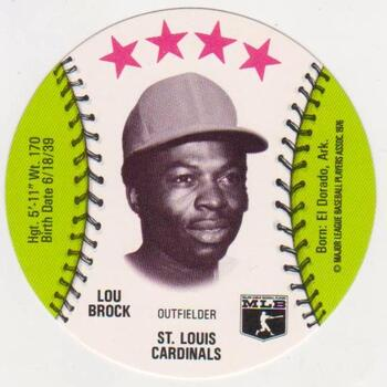 1976 Isaly's Disc Lou Brock - High Grade!