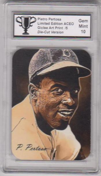 #1/5 Produced - Jackie Robinson Signed By Artist ACEO Die Cut Version Art Card Graded Gem Mint 10