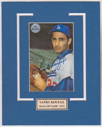 Signed - Sandy Koufax Autographed 4x5 Photo On A 8x10 Matte Finish w/COA