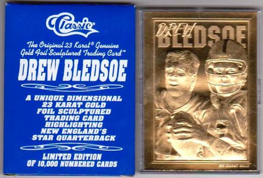 23 kt Gold - Drew Bledsoe 1995 Classic Gold Card In Box w/COA - Only 10,000 Produced