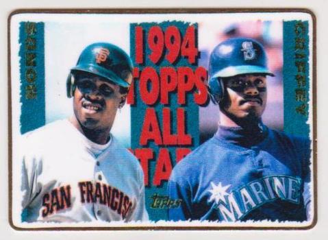 #83/100 Produced - 1995 Topps Barry Bonds/Ken Griffey, Jr. #388 Porcelain Card