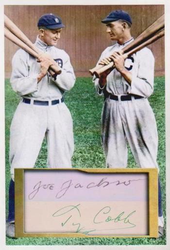 Shoeless Joe Jackson + Ty Cobb 4x6 Photo w/ Facsimile Signatures - Nice For Framing!