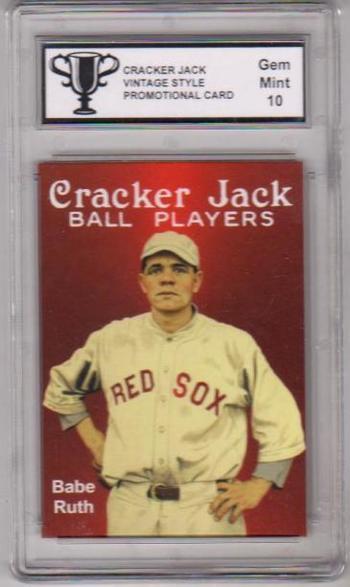 Graded Gem Mint 10 Babe Ruth Cracker Jack Vintage Style Promo Card