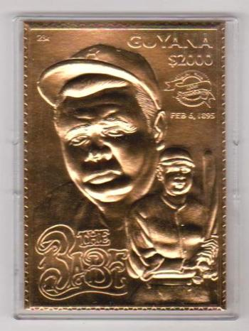 23 kt Gold - Babe Ruth 1994 SSCA $2000 Guyana Stamp Serial Numbered Trading Card