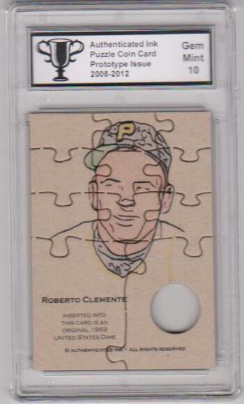 Graded Gem Mint 10 - Roberto Clemente Authenticated Ink Puzzle Prototype Card
