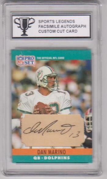 Dan Marino Sports Legends Facsimile Autograph Custom Cut Card - Slabbed