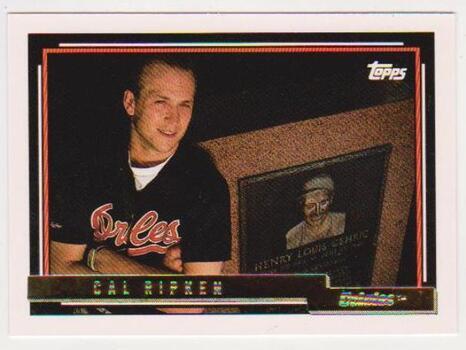 1992 Topps Gold Pre-Production Cal Ripken, Jr. #40 Sample Card